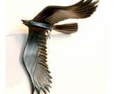 Flying Crow 1 carved wood sculpture by Jason Tennant