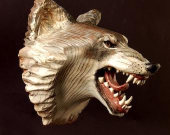 Wolf Mask wood carving Jason Tennant