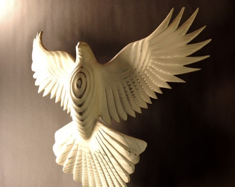 Dove wood carving by Jason Tennant, Wall sculpture, holiday,  hope, inspirational