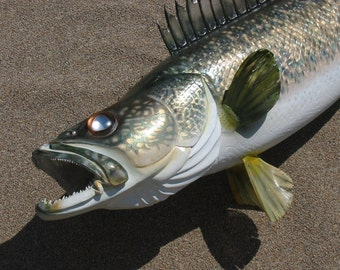 Walleye woodcarving, five feet long, by Jason Tennant