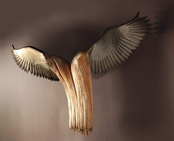 Nike Of The Forest , Wood Sculpture by Jason Tennant. American Chestnut