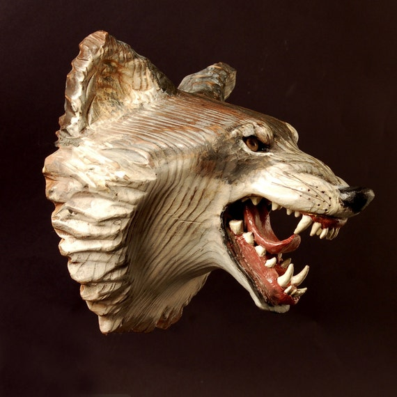 Snarling Wolf Mask  carved wood,