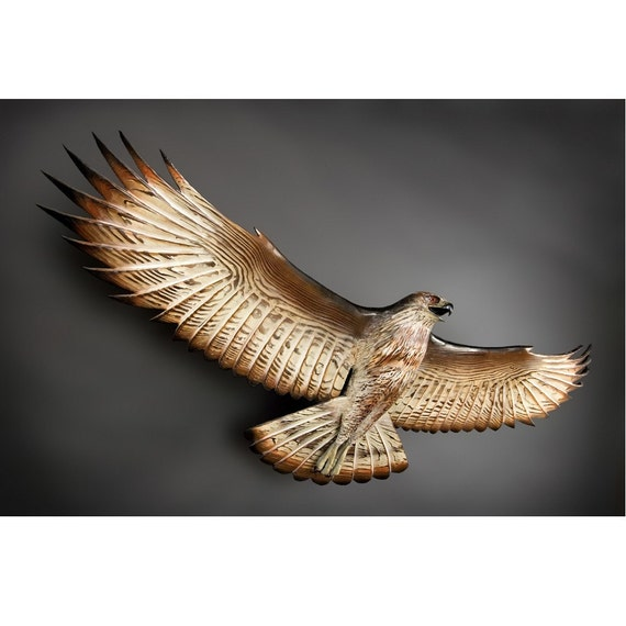 Flying Hawk Woodcarving sculpture by Jason Tennant