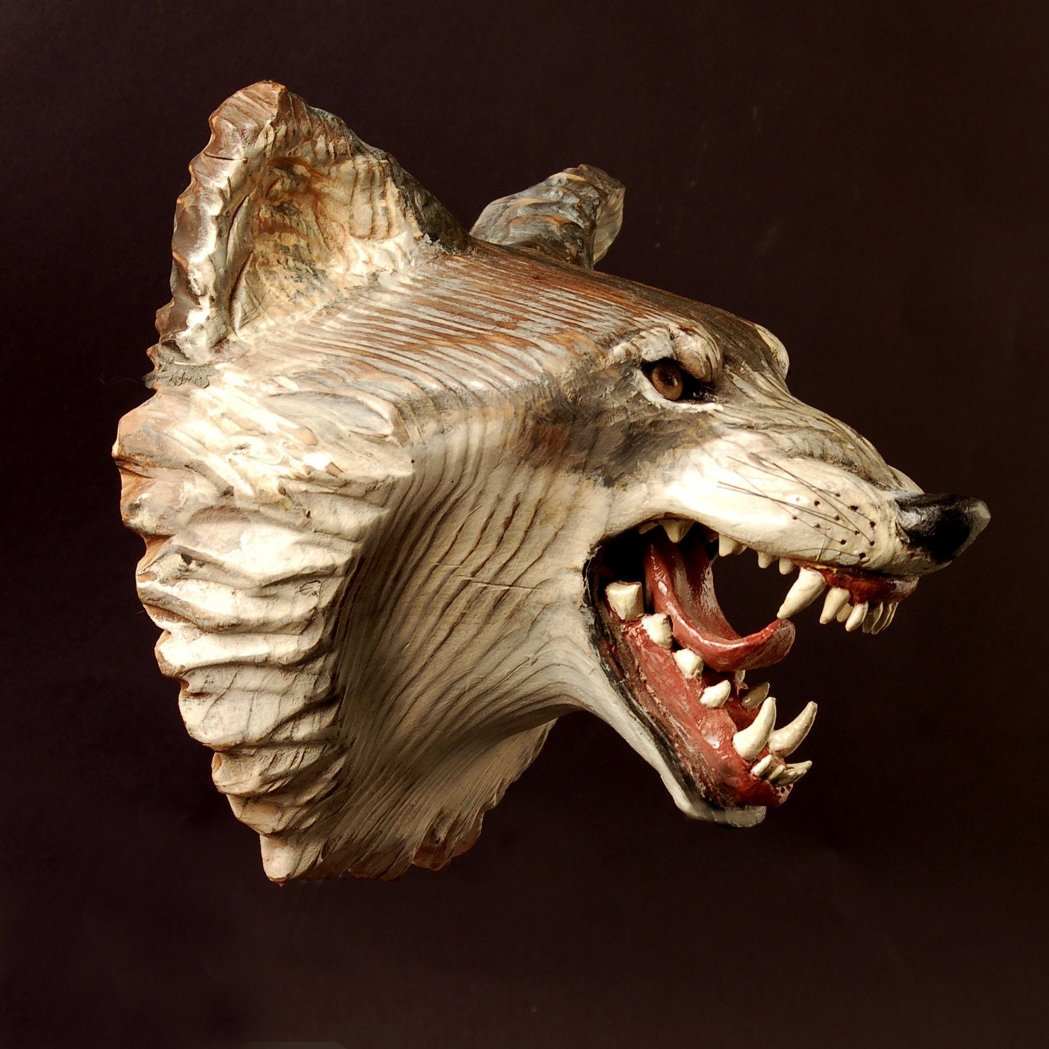 Wolf mask wood carving jason tennant