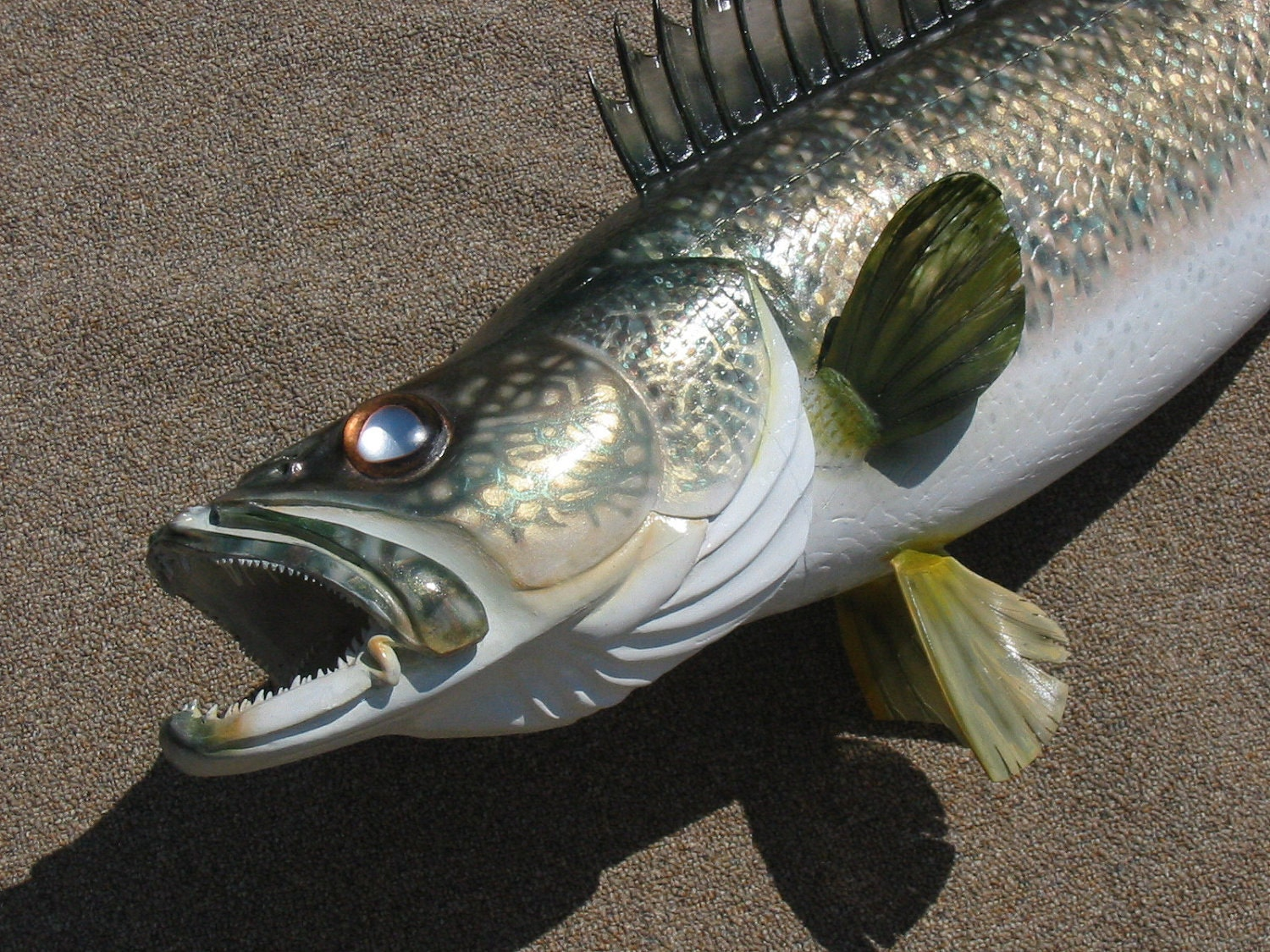 Walleye woodcarving five feet long by jason tennant