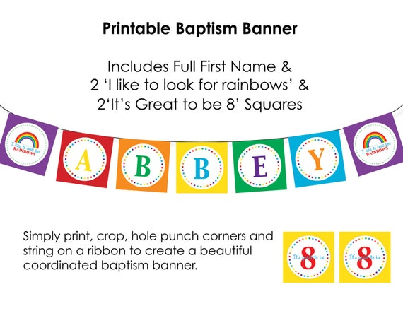 Personalized LDS Baptism Printable Banner - Rainbow