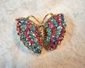 ON SALE   Vintage Pink and Blue Rhinestone Butterfly Pin/Brooch