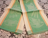 2 Vintage Linen Dish Towels Green Coffee Cups