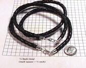 New Black Braided Real Leather Choker & Bracelet Set