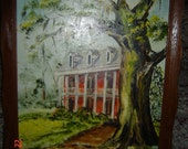 Antique Vintage Southern Plantation Art Painting Creepy Old Tree Framed