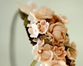 floral hair band with vintage millinery 'sierra' wedding accessory head piece