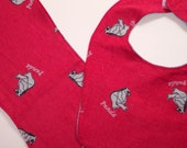 Bib and Burp Cloth Set, Baby Boy - Gray Bears on Red Flannel - READY MADE