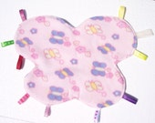 Ribbon Tag Blanket, Taggie Blanket, Small Blanket  Lovie - Pink Butterfly - READY MADE