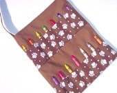 Children's Tote Bag,Crayon Roll Bag, Art Bag - Puppy Paw Print Chocolate Brown -READY MADE
