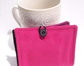 Tea Wallet, Leather Wallet, Business Card Holder - Hot Pink Suede - READY MADE