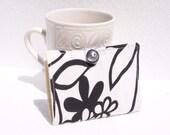 Tea Wallet Tea Bag Holder Small Wallet Business Card Holder - Black Flowers on White - READY MADE