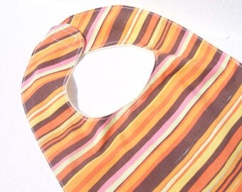 Orange Baby Bib  - Orange and Brown Stripe with Fish - READY MADE