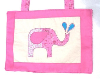 Baby Quilted Wall Art, Nursery Decoration, Room Decor Baby Girl Artwork  - Pink Elephant Spraying Water - READY MADE