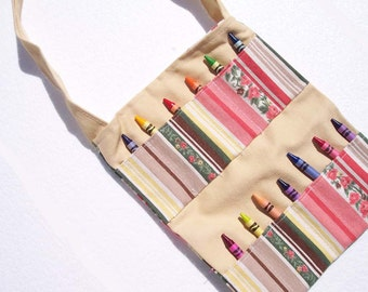 Children's Tote Bag Crayon Roll Bag - Stripes and Flowers with Coordinating Crayon Pockets - READY MADE