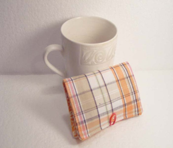 Tea Wallet - Tea Bag Holder - Business Card Holder - Orange and Gray Plaid - READY MADE