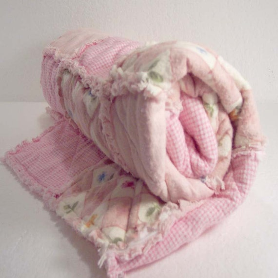 Rag Quilt Patchwork Baby Quilt Crib Bedding Girl Baby Blanket - Pink Gingham with Flowers - READY MADE