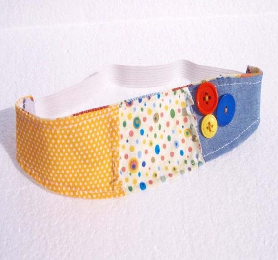 Children's Fabric Headband Shabby Chic Reversible Modern Headband Child Head Band - Yellow and Denim - READY MADE