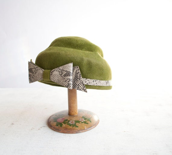 moss green felt hat with snakeskin bow accent