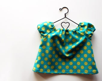 Fits like American Girl Doll Clothes - Teal Ta Dot Peasant Swing Top, Made To Order