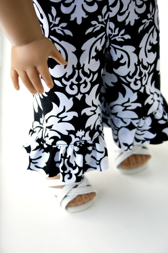 Reserved for Lisa - American Girl Doll Clothes - Ruffle Capris in Dandy Damask, Made To Order