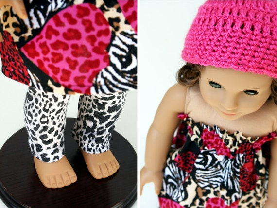 American Girl Doll Clothes - On the Wild Side Strapless Top, Leggings and Beanie