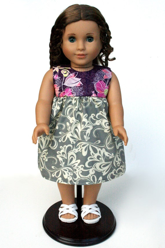 American Girl Doll Clothes - The Rose Ballad Collection, A Babydoll Jumper in Rhythmic Gray, Made To Order