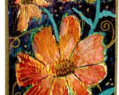 flower ACEO cosmos ART small painting SFA ACEtsy Team free shipping