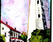lighthouse ACEO sandy hook nj watercolor small art original painting SFA free shipping