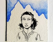 Baring Mountain - small ink drawing painting on paper SALE