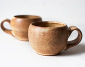 Set of Two Stoneware Mugs, Toasted Yellow