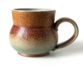 Rustic Mug, Stoneware, Brick Red and Teal, 14 Ounces