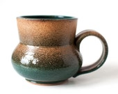 Stoneware Mug, Teal and Wheat Hues, 14 Ounces