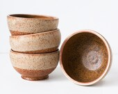 Set of Four, Stoneware Bowls, Speckled Cream and Rusted Red