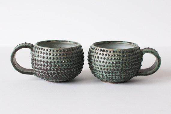 Set of 2 Mugs, Lots of Spots, Turquoise Glaze, 8 Ounces
