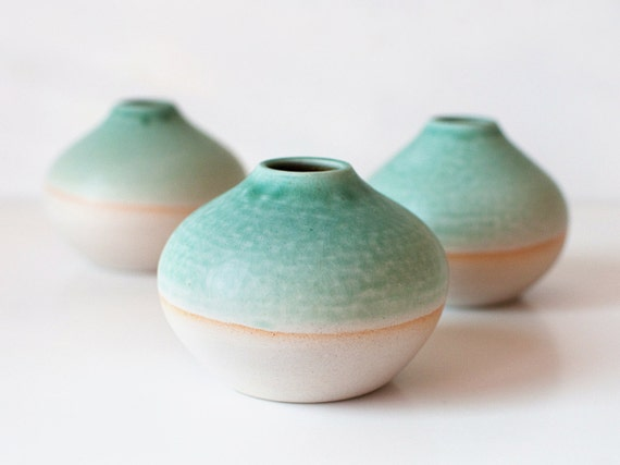 Trio of Mint Bud Vases, Stoneware