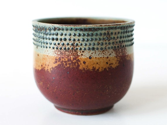 Spotted Cup, Rust Red and Turquoise, 10-12 Ounces