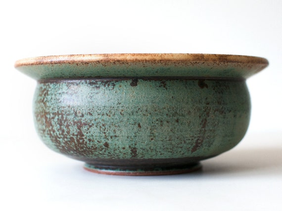 Turquoise Bowl with Blue and Yellow Accents, Stoneware