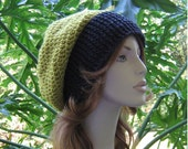 PEA GREEN - Dk GRAY Slouchy Hat  ...  Ready-to-Ship