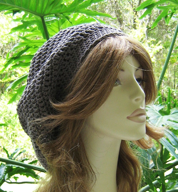 TAUPE Slouchy Crocheted Hat  ... Ready-to-Ship