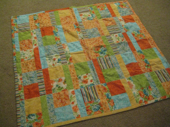 Bright florals handmade quilt, baby blankie, picnic blanket, wall hanging, lightweight