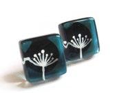 Dandelion aqua earrings -Hand painted glass -