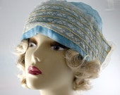 Vintage 30s Sleeping Beauty Victorian Blue Night Cap Bonnet With Lace