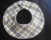 Collar Baby Bib Green Brown Plaid