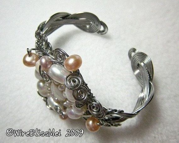 Wire wrapped braided bracelet with pearl