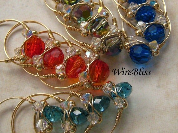 Wire wrapped sparkly crystal rings with Swarovski Crystals